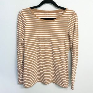 The Limited Tan and White Striped Perfect Tee